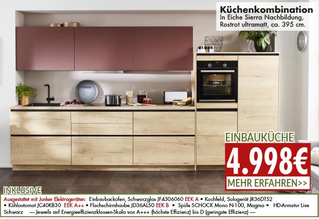 Küchenkombination mit Farbakzent für nur 4998 Euro