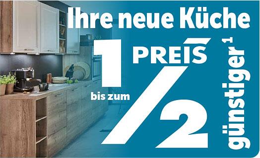 Neue Küche bis zum halben Preis günstiger