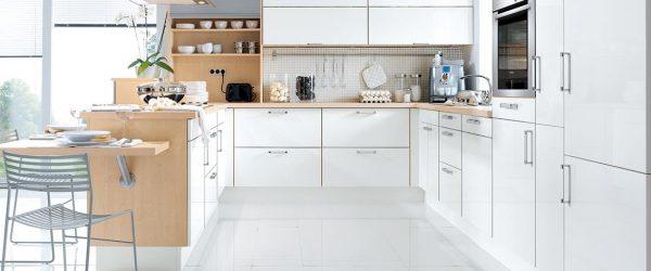 Möbel Gradinger Worms Küche Aktiv Schüller Gala brillantweiß Lack hochglanz